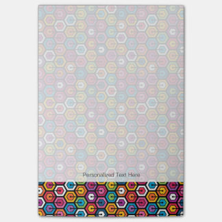 Colorful geometric pattern with hexagons post-it notes