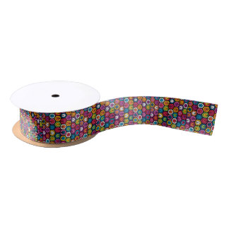 Colorful geometric pattern with hexagons satin ribbon