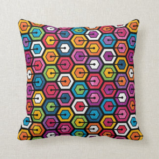 Colorful geometric pattern with hexagons throw pillow