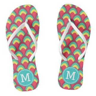 Colorful Geometric Personalize Name Monogram Flip Flops