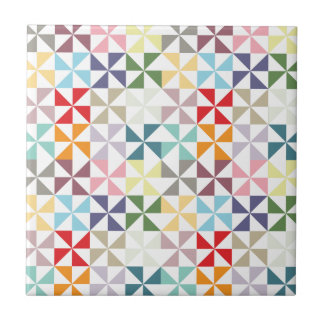 Colorful Geometric Pinwheel Tile