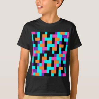 Colorful Geometric Tetris Squares - Modern Pattern T-Shirt