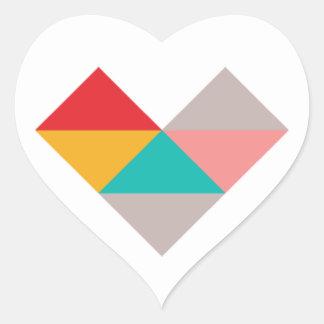 Colorful Geometric Triangle Heart Wedding Heart Sticker