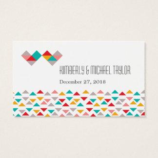 Colorful Geometric Triangle Hearts Wedding