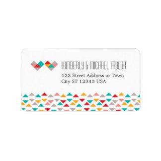 Colorful Geometric Triangle Hearts Wedding Address Label
