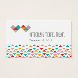 Colorful Geometric Triangle Hearts Wedding Business Card