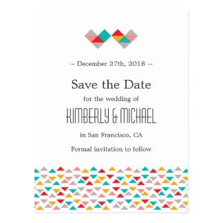 Colorful Geometric Triangle Hearts Wedding Post Card