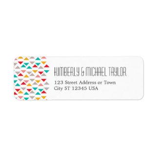 Colorful Geometric Triangle Hearts Wedding Return Address Label