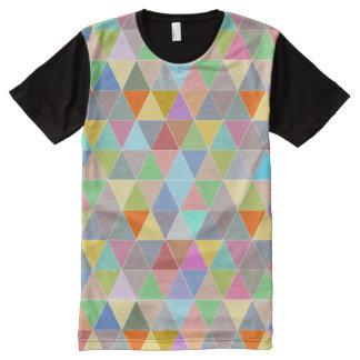 Colorful geometric triangle mosaic pattern t shirt