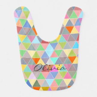Colorful geometric triangle pattern baby bib