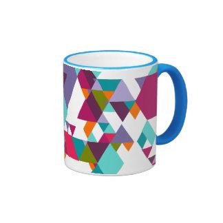 Colorful geometric triangle pattern ringer mug