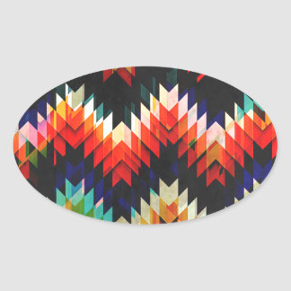 Colorful Geometric Weave Oval Sticker