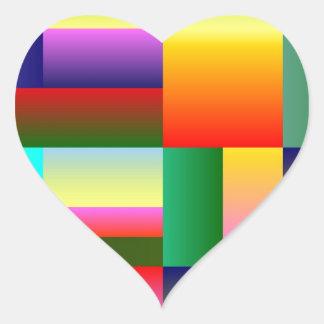 Colorful Geometrical Symmetry Heart Sticker