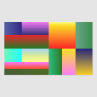 Colorful Geometrical Symmetry Rectangular Sticker