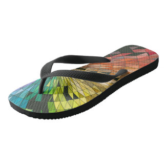 Colorful geometry pattern flip flops