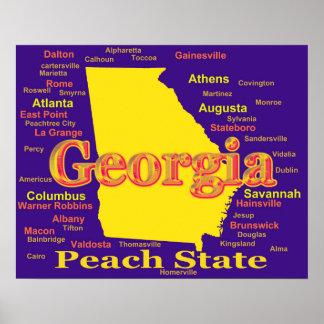Colorful Georgia State Pride Map Silhouette Poster