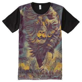 Colorful Ghost Lion Graphic Novel Style Art All-Over Print T-Shirt