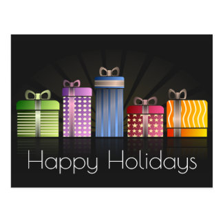 Colorful Gifts Happy Holidays Postcard