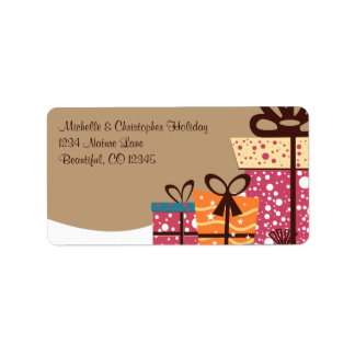 Colorful Gifts in Snow Winter Address Label