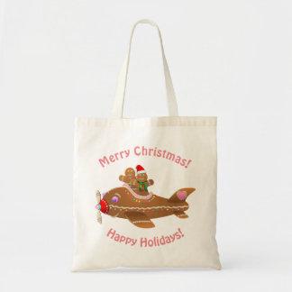 Colorful Gingerbread Airplane Cartoon Tote Bag