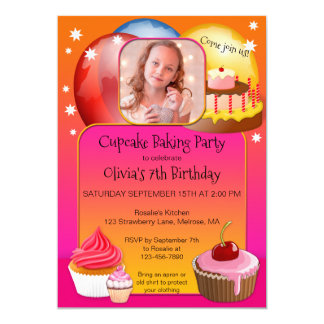 Colorful Girl Cupcake Birthday Party Invitation