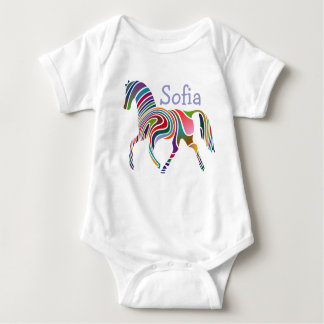 Colorful Girly Fantasy Horse Personalized Baby Bodysuit