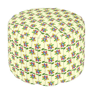 colorful girly flowers pattern round pouf