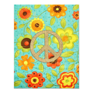 Colorful Girly Groovy Peace Floral Print 11 Cm X 14 Cm Invitation Card