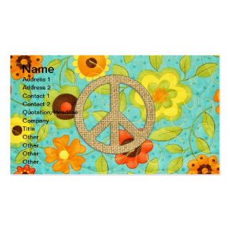 Colorful Girly Groovy Peace Floral Print Business Card Template