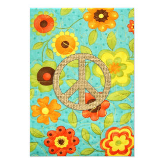 Colorful Girly Groovy Peace Floral Print Invitations
