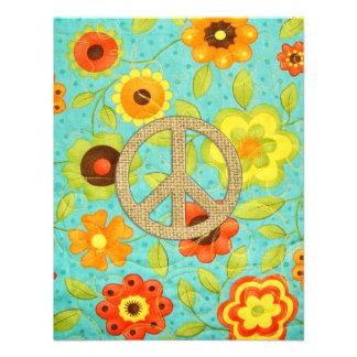 Colorful Girly Groovy Peace Floral Print Custom Invitation