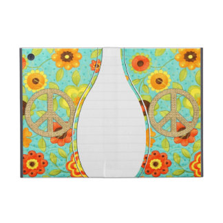 Colorful Girly Groovy Peace Floral Print iPad Mini Case