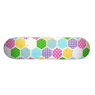 Colorful girly honeycomb pattern skateboard