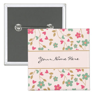 Colorful Girly Pink & Brown Floral Pattern 15 Cm Square Badge