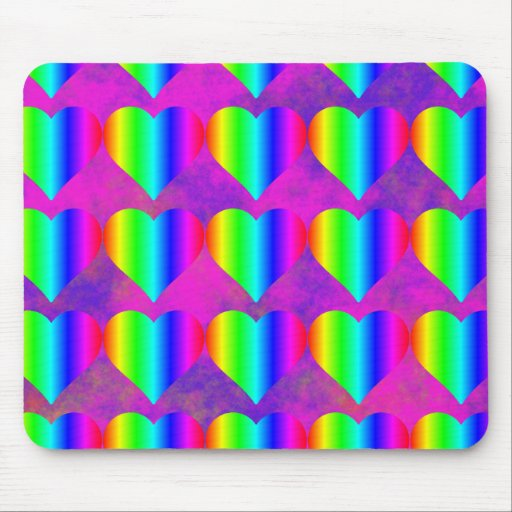 Colorful Girly Rainbow Hearts Fun Teen Pattern Mouse Pad