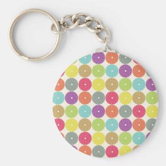Colorful Girly Spring Pastel Circle Disks Pattern Basic Round Button Key Ring