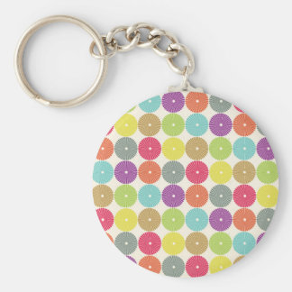 Colorful Girly Spring Pastel Circle Disks Pattern Keychain