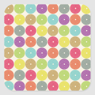 Colorful Girly Spring Pastel Circle Disks Pattern Square Sticker