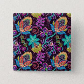 Colorful Glass Beads Look Retro Floral Design 15 Cm Square Badge