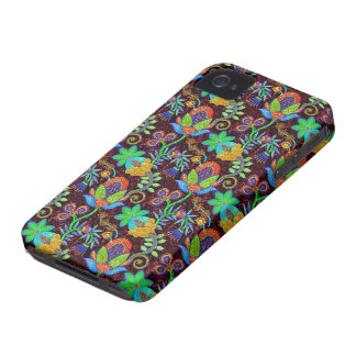 Colorful Glass Beads Look Retro Floral Design 2 iPhone 4 Case