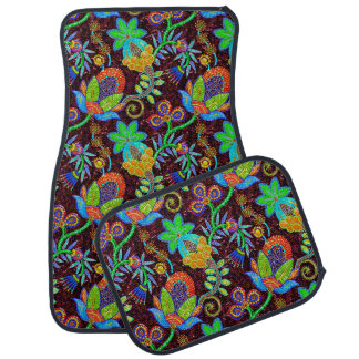 Colorful Glass Beads Look Retro Floral Design 2a Car Mat