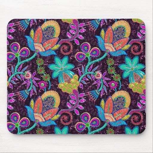Colorful Glass Beads Look Retro Floral Design Mousepads