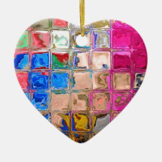 Colorful glass blocks texture christmas ornament