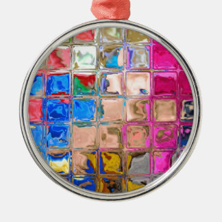 Colorful glass blocks texture Silver-Colored round decoration