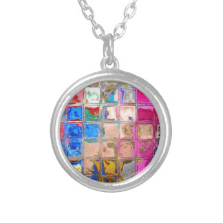 Colorful glass blocks texture silver plated necklace