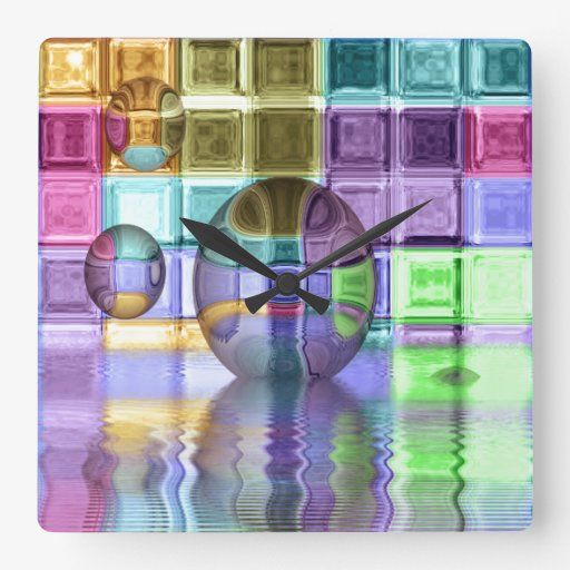 Colorful Glass Tile Worlds Wall Clocks