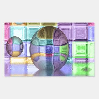 Colorful Glass Tile Worlds Rectangular Sticker
