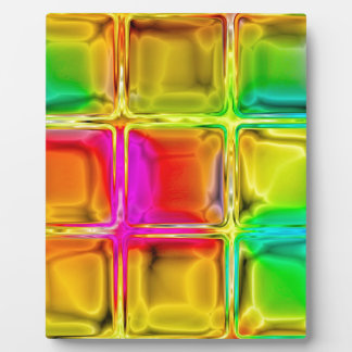 Colorful glass tiles display plaques