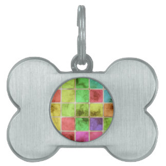 Colorful glass tiles pet ID tag