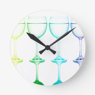 Colorful glasses in front of white background round clock